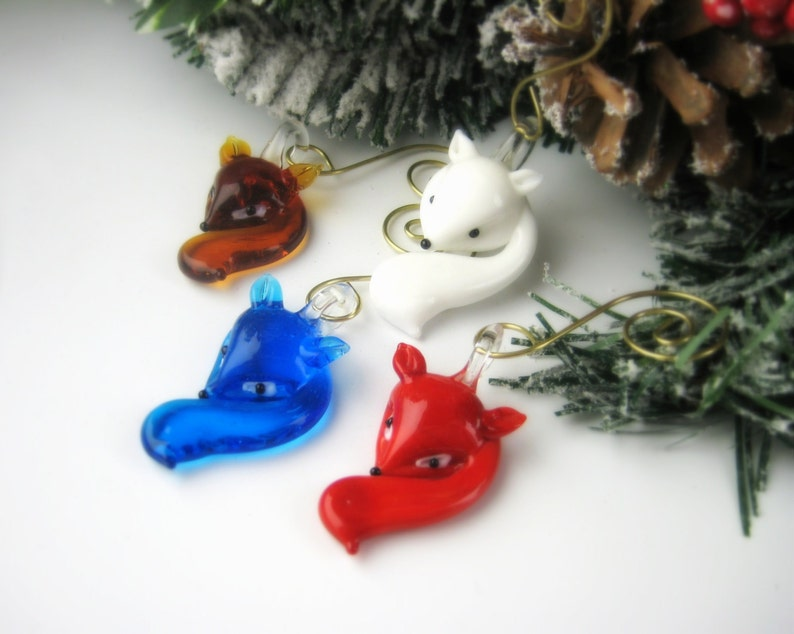 Glass Christmas Ornaments Fox Ornament Sets Christmas Gift Ideas Office Unique Hostess Gift Holiday Stocking Stuffer