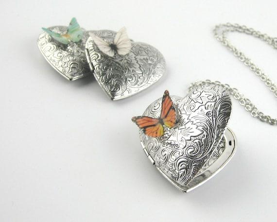 Exquisite Purple Butterfly Art Specimen Locket Necklace Glass Antique Locket Necklace