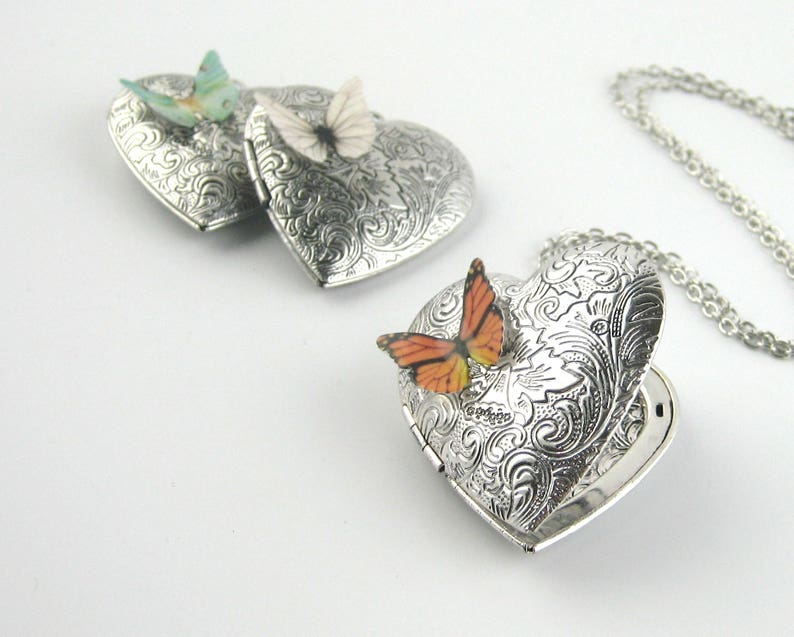 Silver Butterfly Locket Necklace  Sterling Silver Butterfly image 0