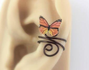 Nonpierced Ear Cuff - Cartilage Cuff - No Piercing Ear Cuff Clip On - Cute Teen Girl Gifts For Women 2017 - Monarch Butterfly Jewelry -