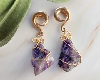 Raw Amethyst Wrap Ear Weights - Crystal Dangle Drop Plugs - 6G 2G 0G 00G - Gemstone Wedding Gauges - Gemstone Gauges