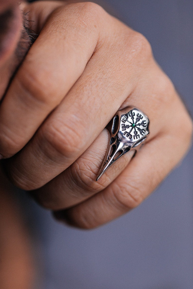 Viking Ring Men Women Bird Skull Ring  Runes Ring  Gothic image 0