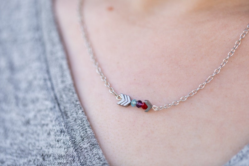Mothers Birthstone Necklace  Gold Silver Arrow Necklace image 0