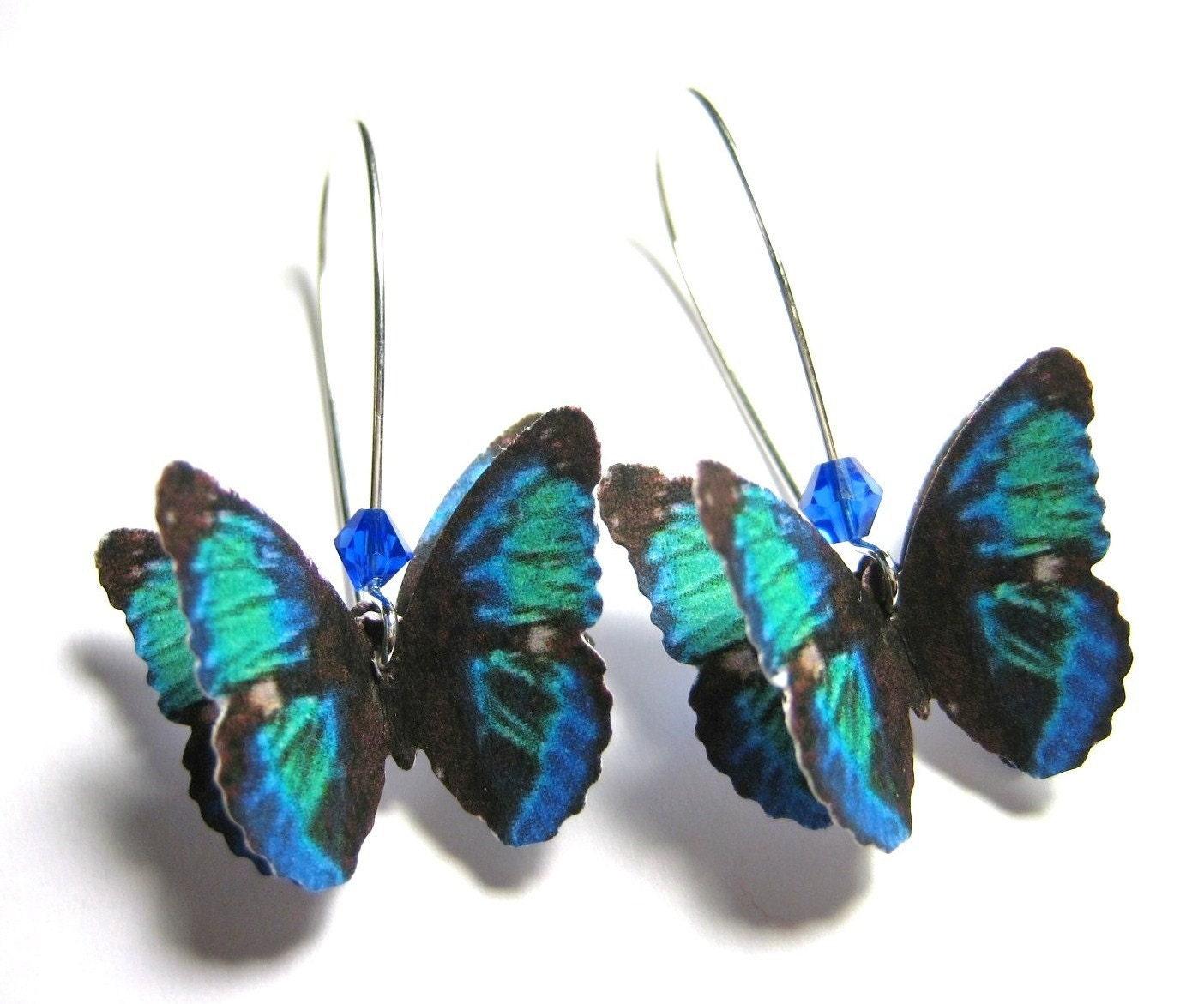 Dark Blue Dangle Earrings Sapphire Blue Drop Earrings Long ...