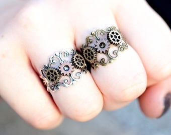 Steampunk Jewelry - Steampunk Ring Women - Cogs and Gears Ring - Silver or Gold Filigree Ring - Fallout