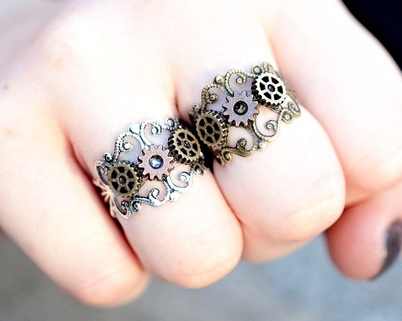 Steampunk Jewelry  Steampunk Ring Women  Cogs and Gears Ring image 0