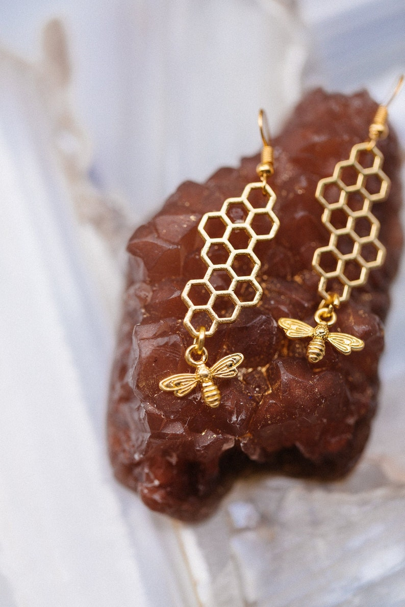 Queen Bee Earrings  Manchester Bee Charm Geometric Earrings Gold
