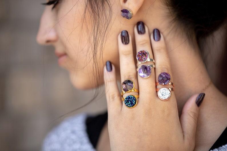 Rough Amethyst Ring  Raw Crystal Ring  February Birthstone image 0