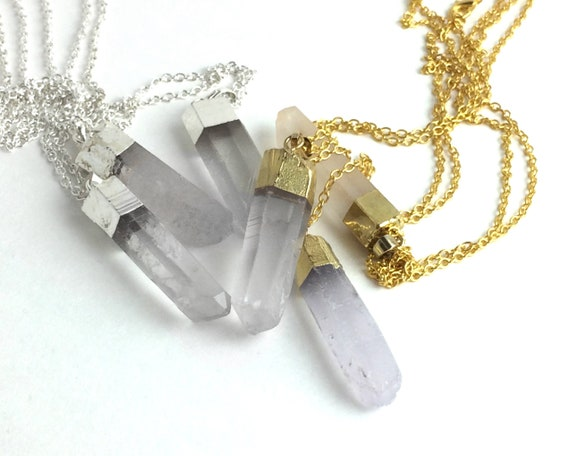Raw Crystal Necklace clear Quartz Point Pendant Gold-dipped Necklace Long Crystal Point Necklace Boho Jewelry Long Layering Necklace