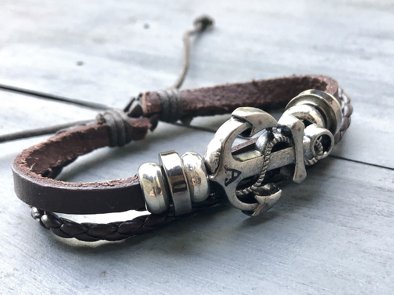Custom Initial Anchor Bracelet  Womens Mens Braided Leather image 0