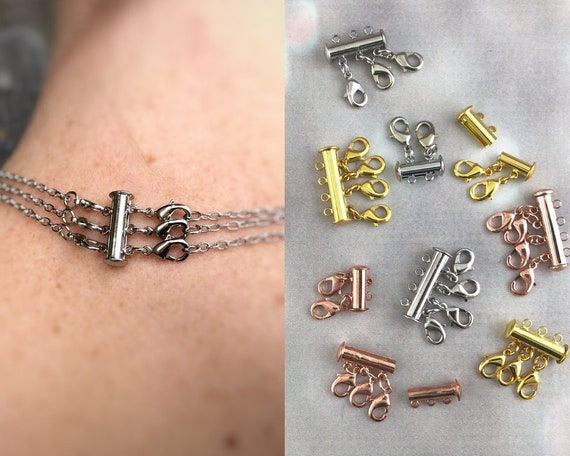 Gold 4 Chain Necklace Spacer Tube