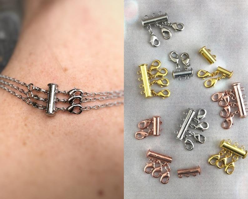 Layering Necklace Clasps  2 3 4 Multi Strand Necklace DIY image 0