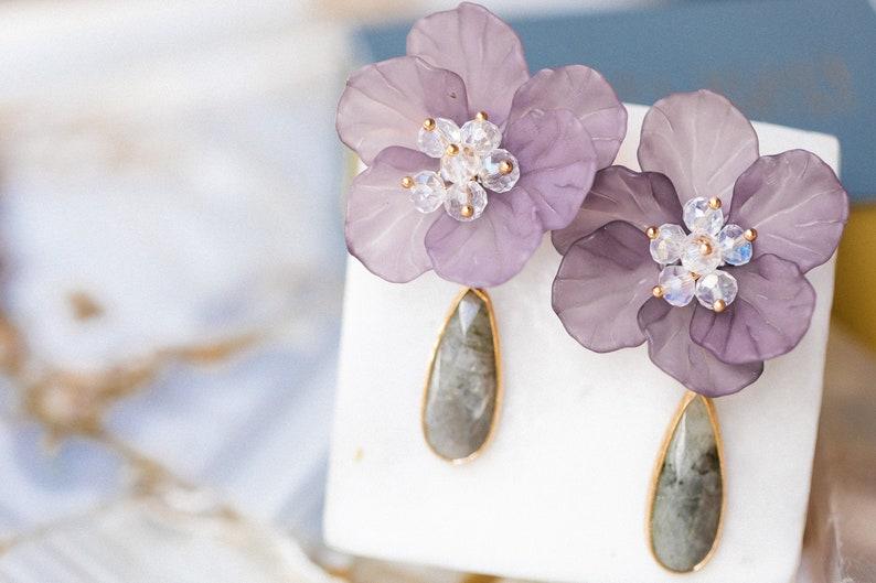 Labradorite Earrings  Large Statement Earring Studs  Purple image 0