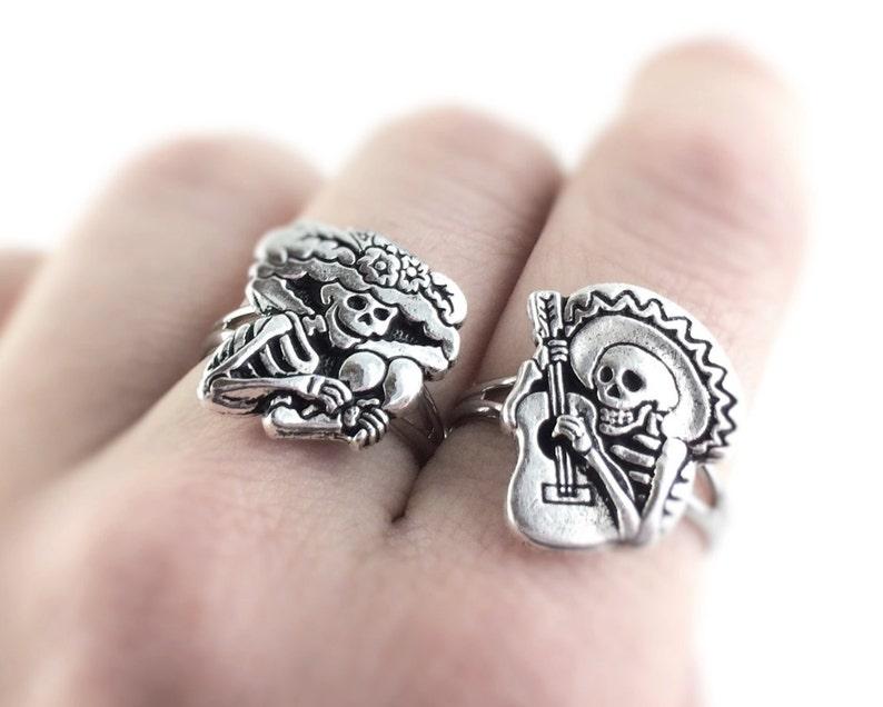 Sugar Skull Jewelry  Silver Sugar Skull Ring  Day of The image 0