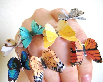 PICK 2 Butterfly Rings - Colorful Jewelry - Silver Statement Rings - 3D Butterfly Jewelry - Unique Adjustable Rings For Women - Gift For Her