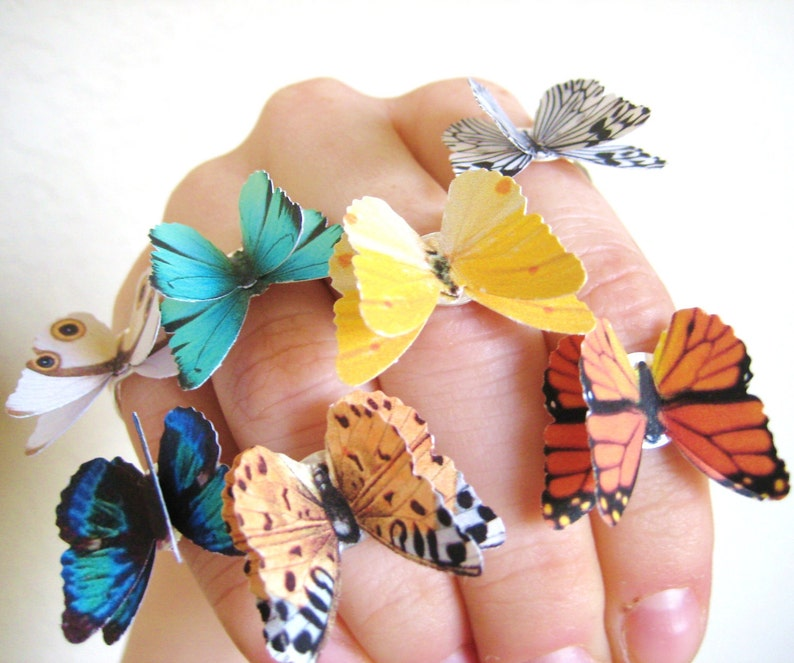 PICK 2 Butterfly Rings  Colorful Jewelry  Silver Statement image 0