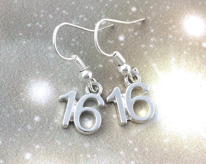 Sweet 16 Gift For Her Number 16 Earrings Sterling Silver Etsy