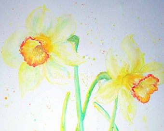 Daffodils Big 18x24 Oversized wall art ORIGINAL watercolor Narcissus flowers yellow springtime watercolour