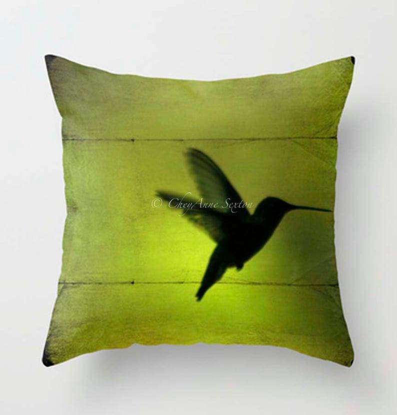 Peridot Hummingbird flight PILLOW 16 18 20 inch pillowcover image 0