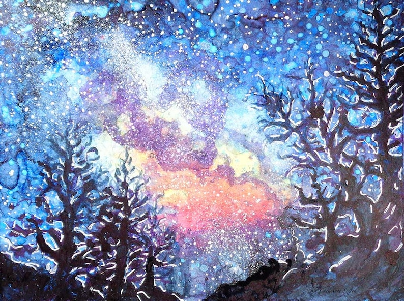 Celestial Galaxy Spring Night by CheyAnne Sexton small image 0