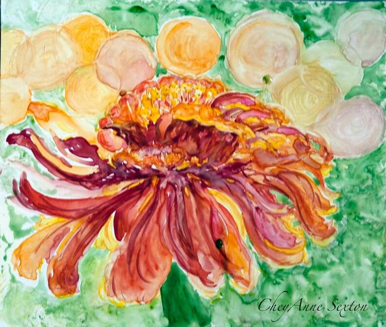 ORIGINAL Zinnia Bokeh Flower Art  Bright Orange Red with image 0