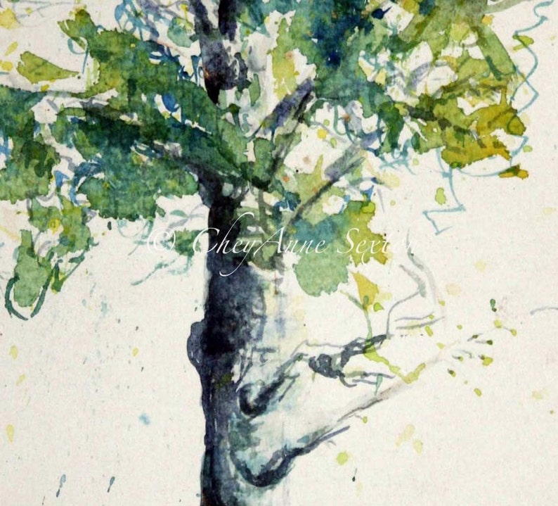 Aspen Tree with Snow  Watercolour Giclee Print 7x15 panoramic image 0