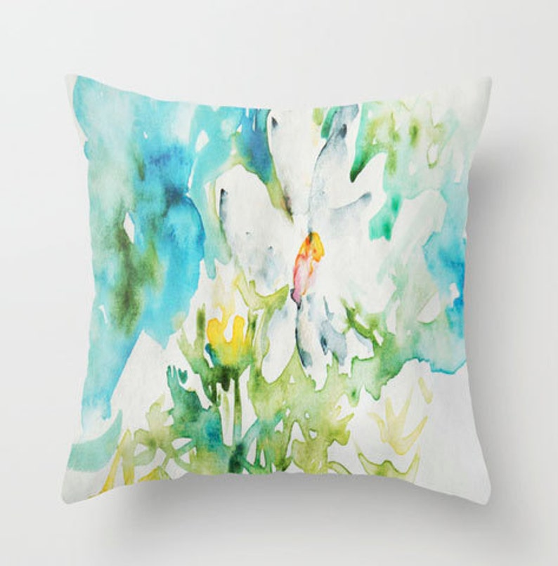 Daisy doodle in Watercolor PILLOW white bright flower art Fine image 0