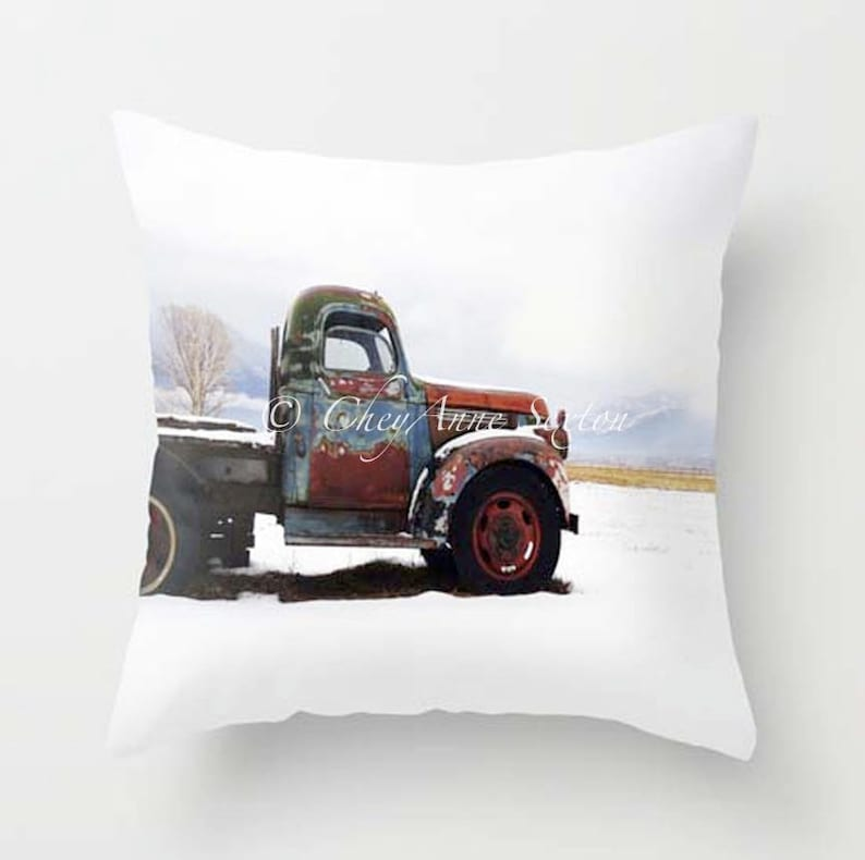 Old Chevy PILLOW 20x20 Rusty Winter Vintage Taos Truck  image 0