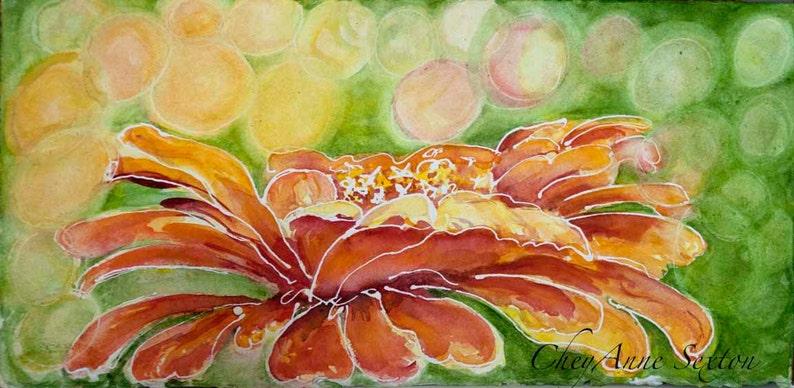 Orange Zinnia Original Watercolor 9x12  summer painting image 0