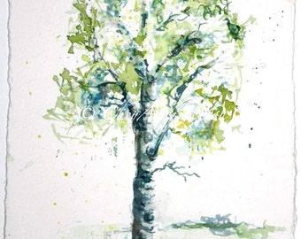 Aspen Tree watercolor Painting - giclee print - lime green springtime - fine art 12x24