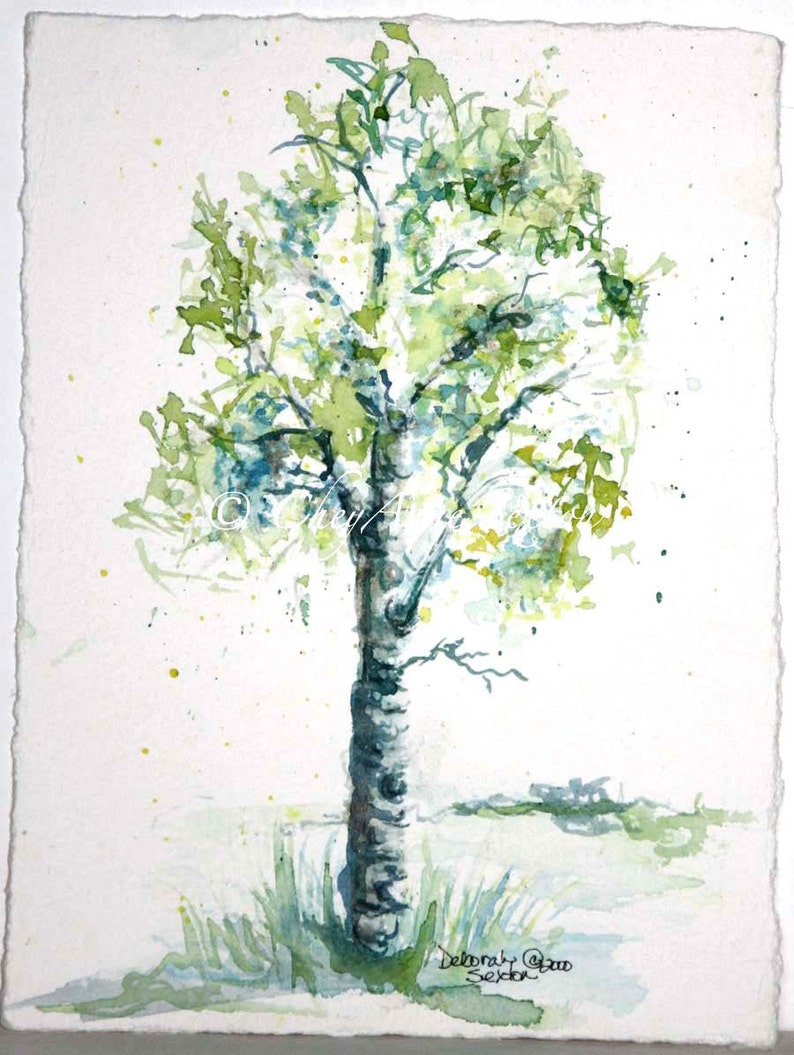 Aspen Tree watercolor Painting  giclee print  lime green image 0