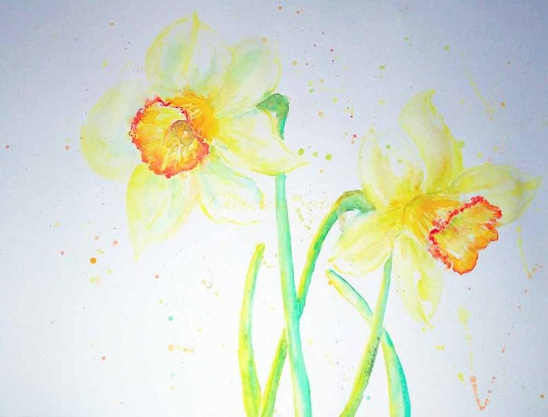 Daffodils Burnt Orange Yellow Big 18x24 Oversized wall art image 0
