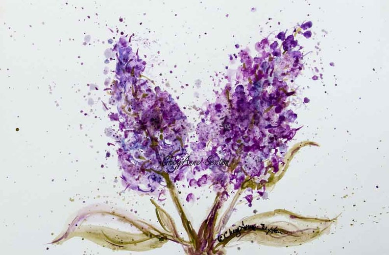 Purple Lilac watercolor blossoms flower art  art gift  image 0
