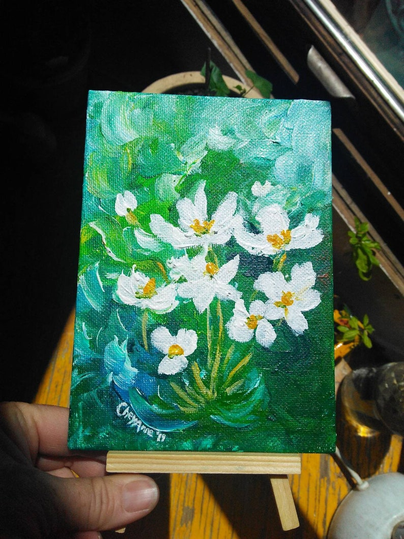 White Flowers in the Garden  Sale  ORIGINAL acrylic painting image 0