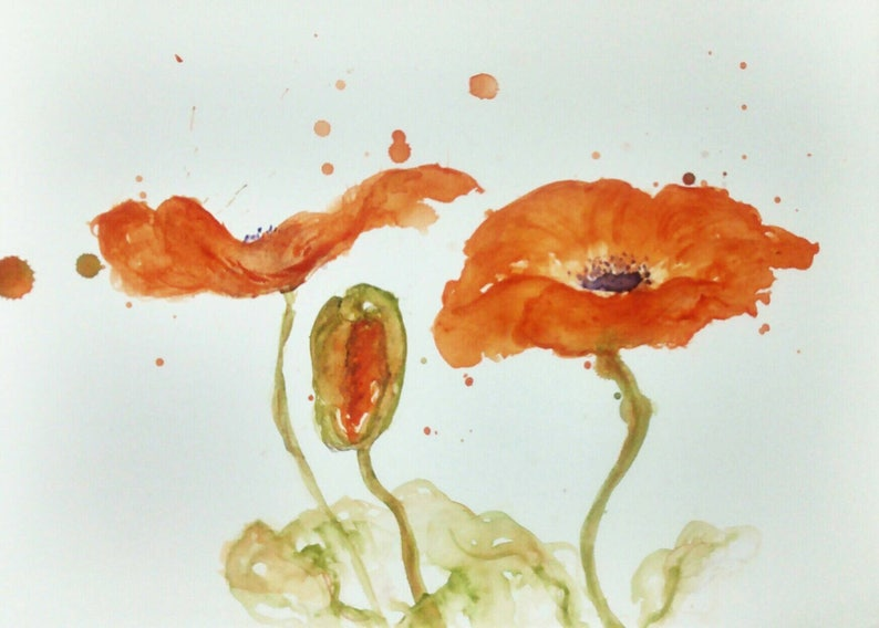 Orange Poppies by CheyAnne Sexton small ORIGINAL watercolor image 0