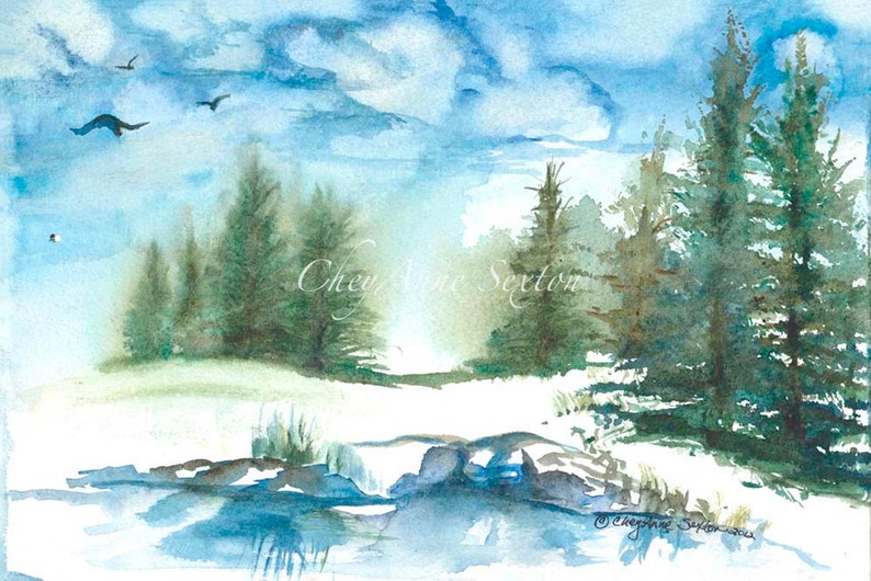Winter Watercolour Landscape Trees water reflections rocks image 0