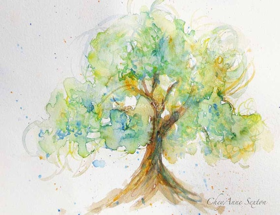 Watercolor Spring Green Tree Of Love Watercolour 8x10 Giclee Print Soft Romantic Tree Can Personalize