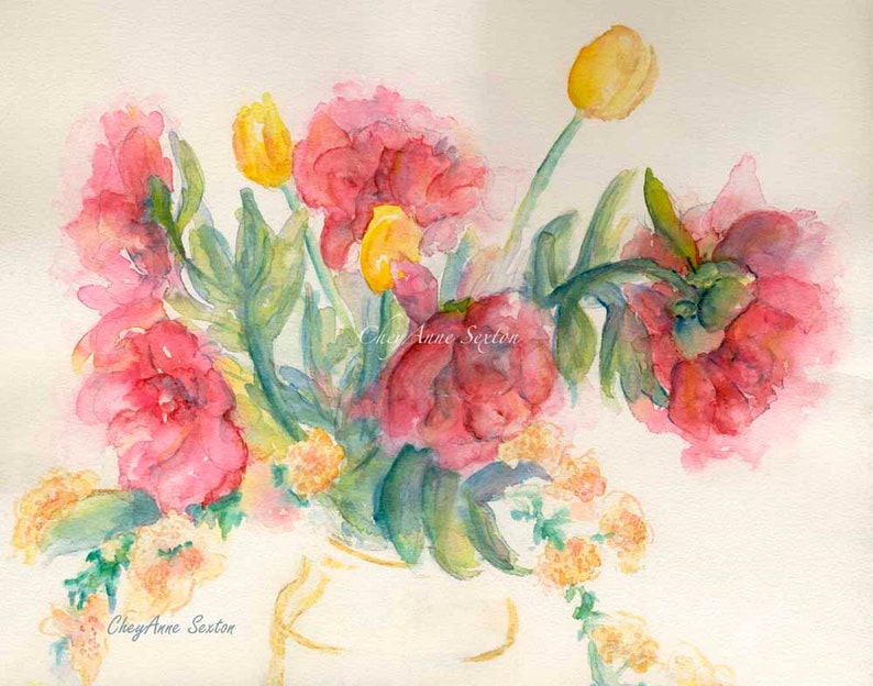 Mother's Day Watercolor Bouquet vintage Fuchsia Pink Peony image 0