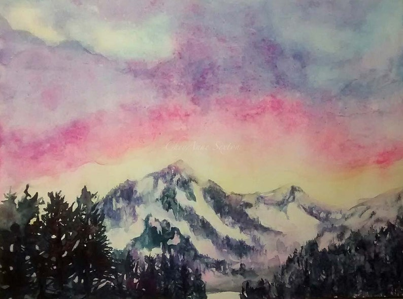 Watercolor Western Mountains 9x12 art Original Painting free image 0