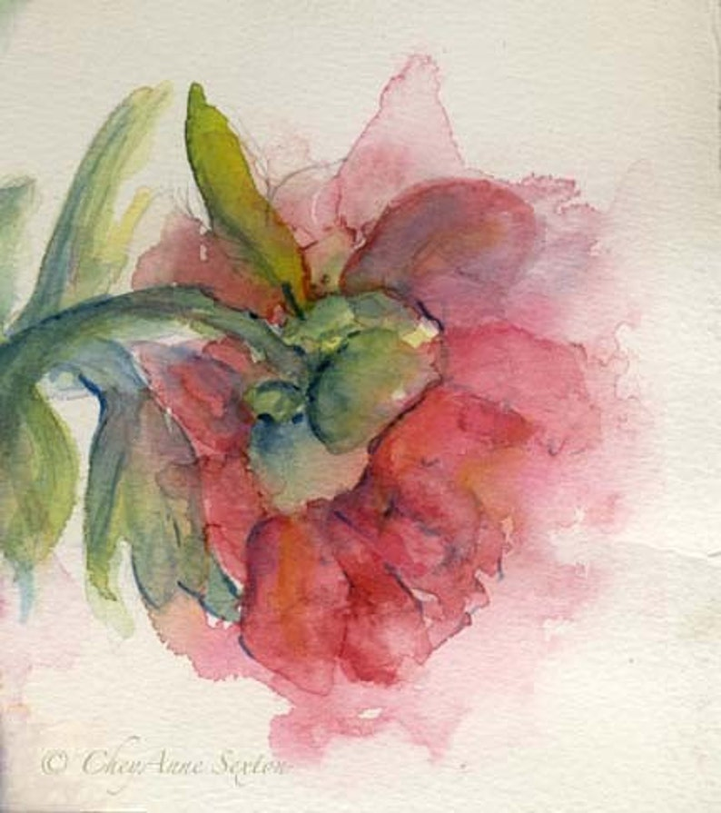 Mothers Day Watercolor Flower Art  Exquisite Love Peony image 0