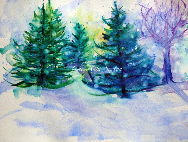 FREE ship winter Landscape Watercolor Painting Pine Tree image 0