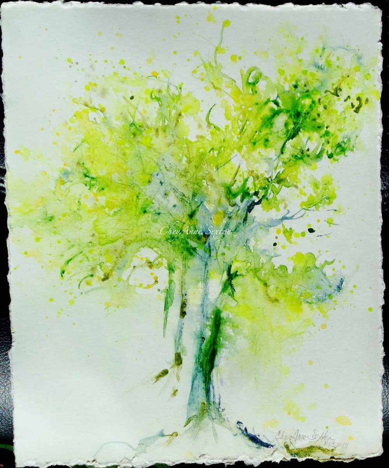 Yellow Spring greenTree watercolor washy pallet knife image 0