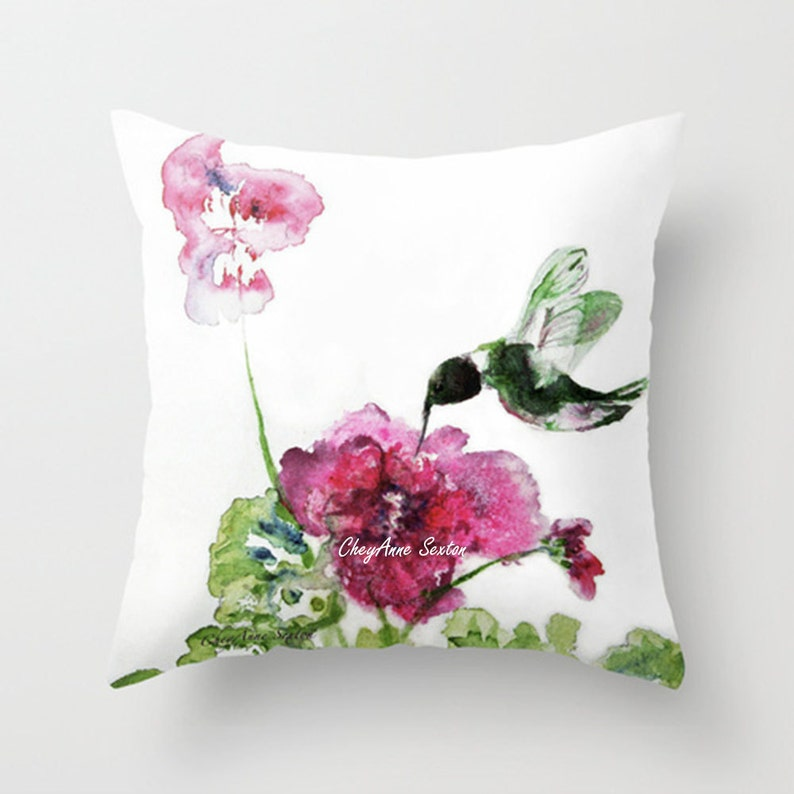Bright Pink flower and hummingbird flight Watercolor PILLOW image 0