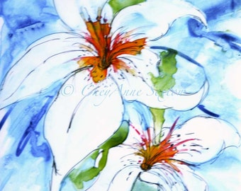 """Watercolor art print White Flower Painting White Lily WaterColour """"Mother's Love"""" Yupo Painting Print"""