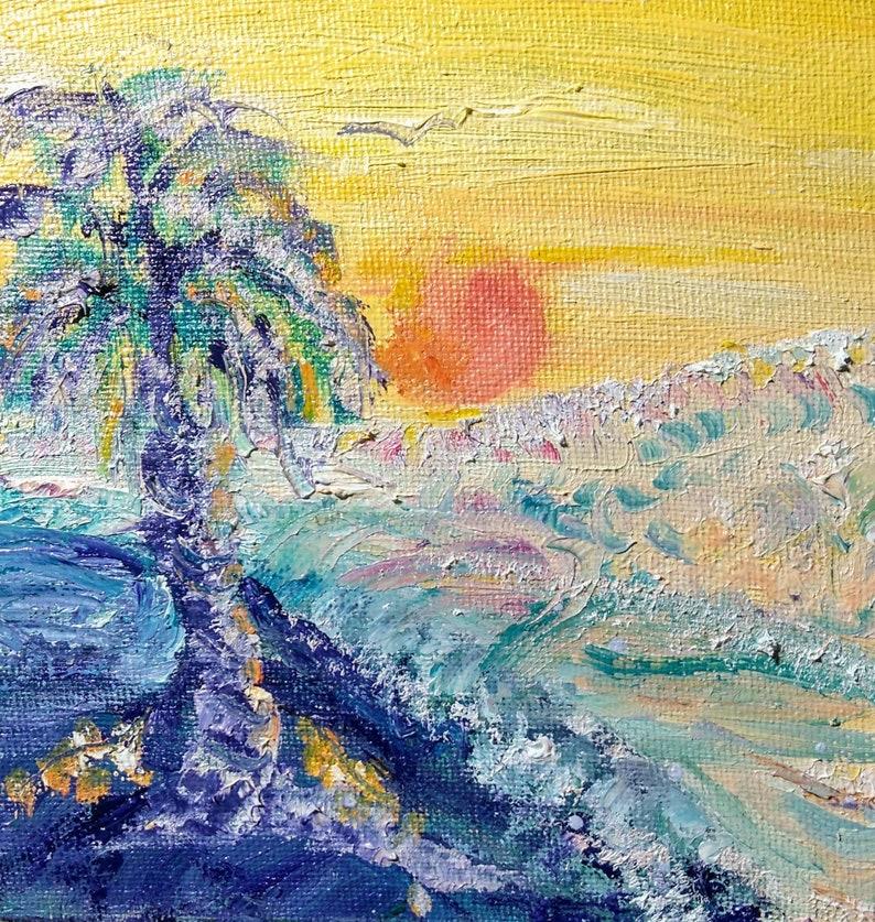 Beach Sunset Sunrise Palm tree crashing waves tropical image 0