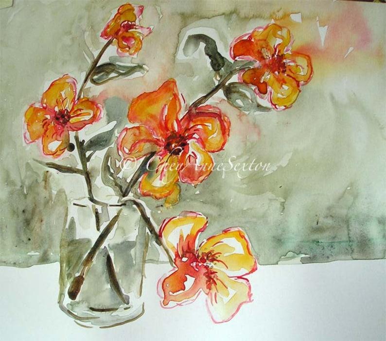 Sweet Orange Flowers Wall Art ORIGINAL Watercolor  Vase of image 0