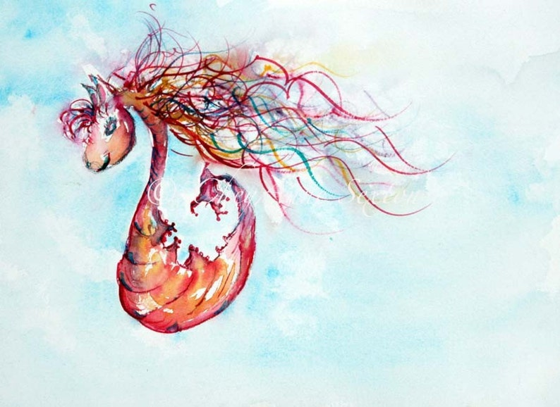 Watercolor baby art seahorse Whimsical Fantasy art Cherry Pink image 0