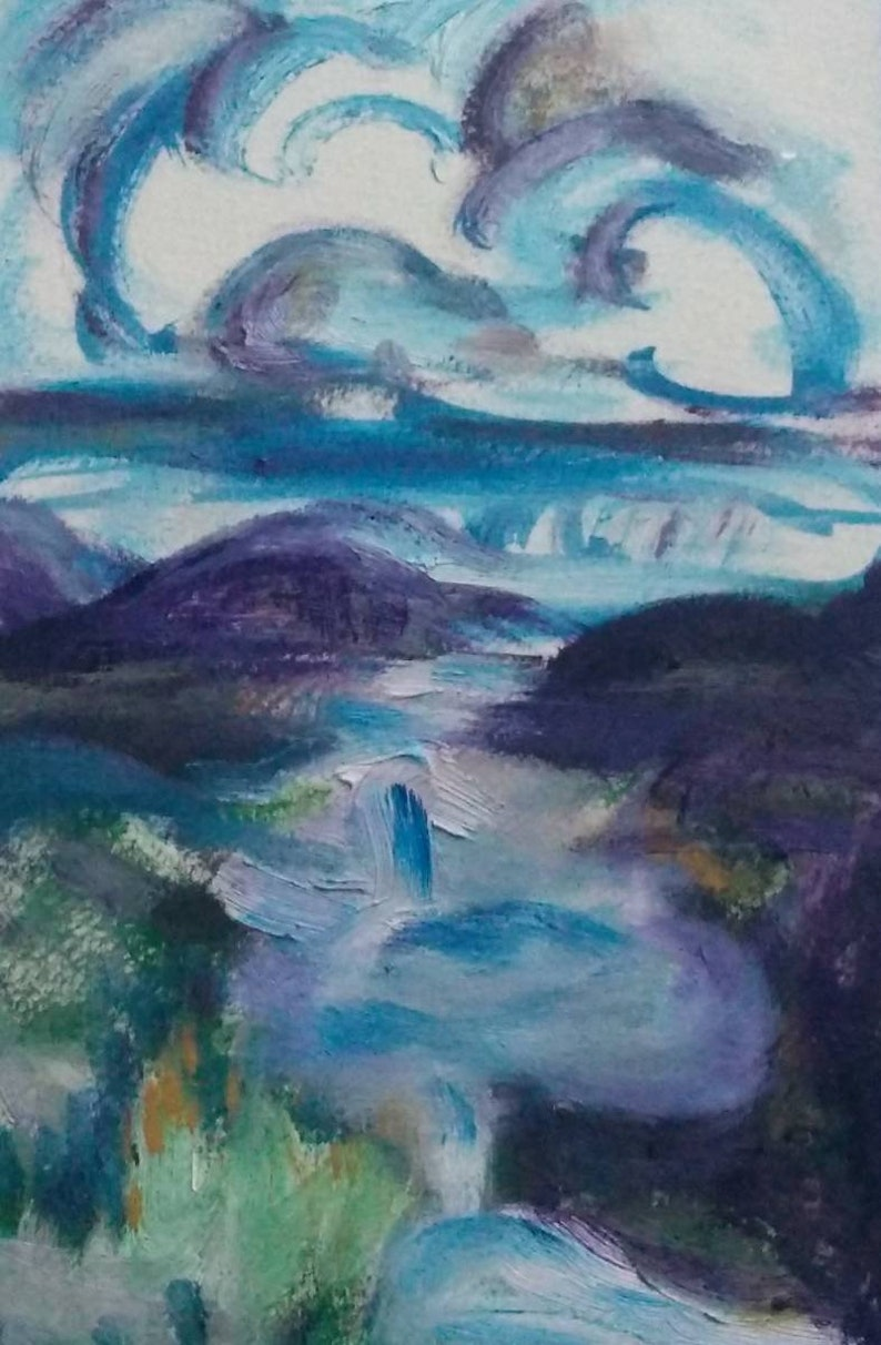 Summer Mountain  ORIGINAL Oil painting 5x8 oil paint on image 0