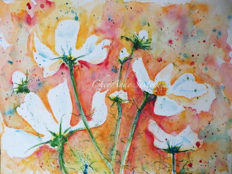 Watercolour art White cosmos flowers tangerine orange image 0