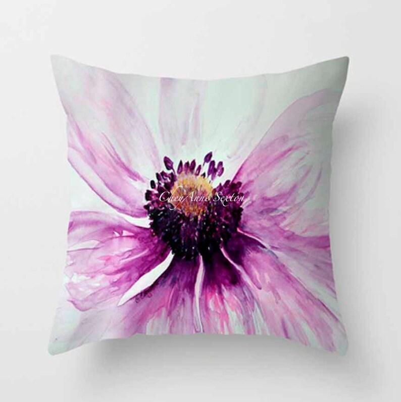 Watercolor Purple Anemone PILLOW white bright flower Fine Art image 0